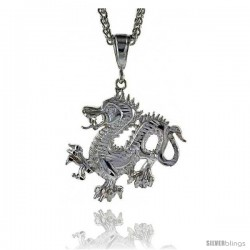 "Sterling Silver Dragon Pendant, 1 5/8"" (41 mm) tall"