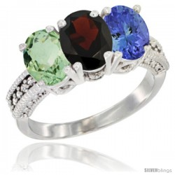 14K White Gold Natural Green Amethyst, Garnet & Tanzanite Ring 3-Stone 7x5 mm Oval Diamond Accent