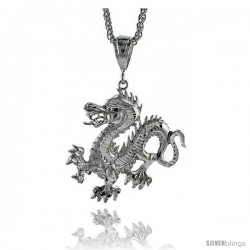 "Sterling Silver Dragon Pendant, 1 15/16"" (49 mm) tall"