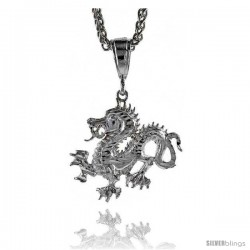 "Sterling Silver Dragon Pendant, 1 1/4"" (32 mm) tall"