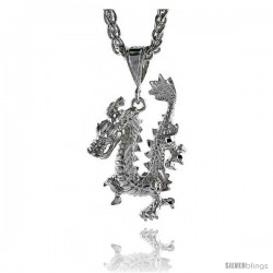 "Sterling Silver Dragon Pendant, 1 1/2"" (38 mm) tall"