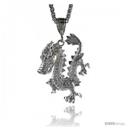 "Sterling Silver Dragon Pendant, 1 15/16"" (49 mm) tall -Style Pq599"