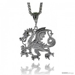 "Sterling Silver Dragon Pendant, 1 5/8"" (41 mm) tall -Style Pq600"