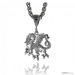 "Sterling Silver Small Dragon Pendant, 1"" (25 mm) tall -Style Pq601"