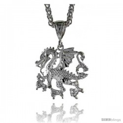 "Sterling Silver Dragon Pendant, 1 1/4"" (32 mm) tall -Style Pq603"