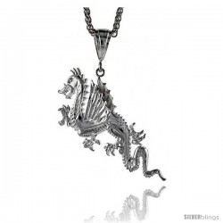 Sterling Silver Dragon Pendant, 2 13/16""