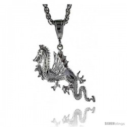 "Sterling Silver Dragon Pendant, 1 1/16"" (27 mm) tall"
