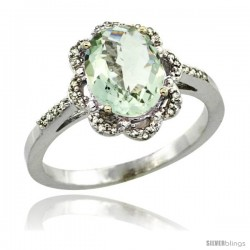 14k White Gold Diamond Halo Green Amethyst Ring 1.65 Carat Oval Shape 9X7 mm, 7/16 in (11mm) wide