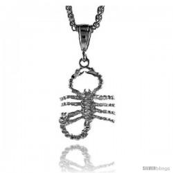 "Sterling Silver Scorpio Pendant, 1 1/4"" (32 mm) tall"