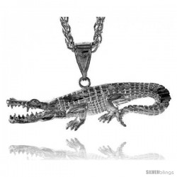 "Sterling Silver Alligator Pendant, 2 3/16"" (55 mm) tall"