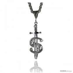 """Sterling Silver Dollar Sign Pendant, 1 9/16"""" (40 mm) tall"""