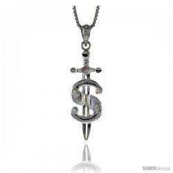 "Sterling Silver Small Dollar Sign Pendant, 1 1/8"" (29 mm) tall"