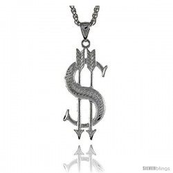 "Sterling Silver Dollar Sign Pendant, 2 3/16"" (55 mm) tall -Style Pq621"