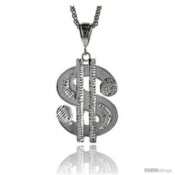 "Sterling Silver Dollar Sign Pendant, 2 1/8"" (54 mm) tall"