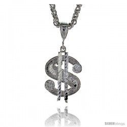 "Sterling Silver Small Dollar Sign Pendant, 1 1/16"" (27 mm) tall"