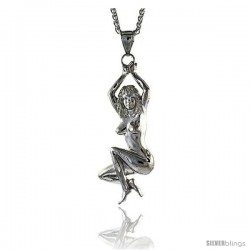 "Sterling Silver Woman Pendant, 3 1/8"" (80 mm) tall"