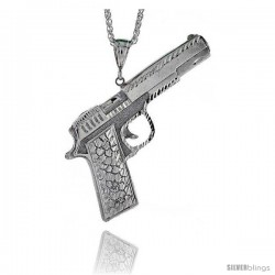 "Sterling Silver Colt 45 Pistol Pendant, 3 11/16"" (94 mm) tall"