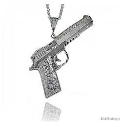 "Sterling Silver Colt 45 Pistol Pendant, 3 11/16"" (94 mm) tall"
