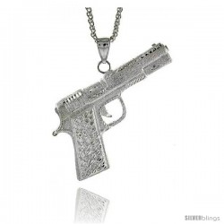 "Sterling Silver Colt 45 Pistol Pendant, 3"" (76 mm) tall"