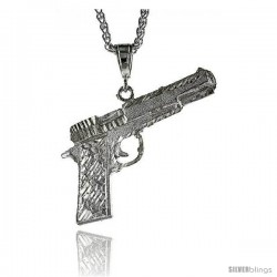 "Sterling SilverColt 45 Pistol Pendant, 2 11/16"" (69 mm) tall"