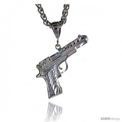 "Sterling Silver Small Colt 45 Pistol Pendant, 1 1/2"" (38 mm) tall"