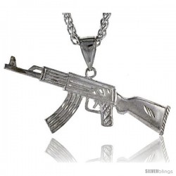 "Sterling Silver Long AK47 Pendant, 2 7/16"" (62 mm) tall"