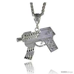 "Sterling Silver Gun (Uzi) Pendant, 1 5/16"" (33 mm) tall"