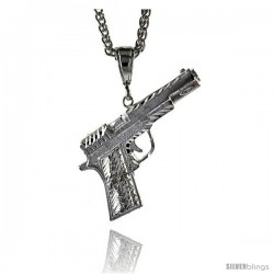 "Sterling Silver Colt 45 Pistol Pendant, 2"" (51 mm) tall"