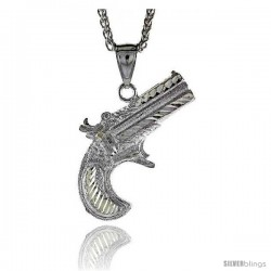 "Sterling Silver Gun (Revolver) Pendant, 1 3/16"" (33 mm) tall"