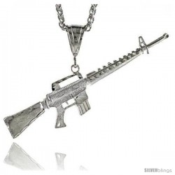 "Sterling Silver M-16 Rifle Pendant, 7/8"" (22 mm) tall"