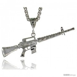 """Sterling Silver M-16 Rifle Pendant, 5/8"""" (16 mm) tall"""