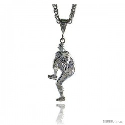 "Sterling Silver Baseball Pitcher Pendant, 1 1/2"" (38 mm) tall"