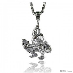 "Sterling Silver Baseball Catcher Pendant, 1 7/16"" (37 mm) tall"