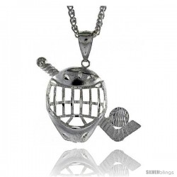 "Sterling Silver Hockey Pendant, 1 1/2"" (38 mm) tall"