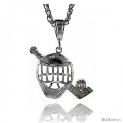 "Sterling Silver Hockey Pendant, 1 1/16"" (27 mm) tall"