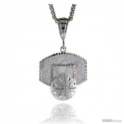 "Sterling Silver Basketball Backboard Pendant, 1 1/2"" (38 mm) tall"