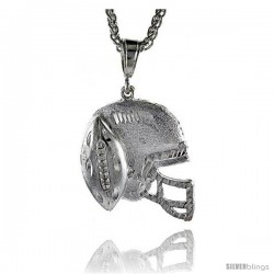 "Sterling Silver Football Helmet Pendant, 1 5/8"" (41 mm) tall"