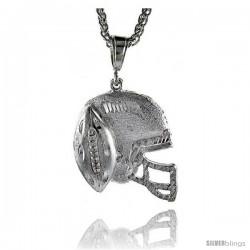"""Sterling Silver Football Helmet Pendant, 1 5/8"""" (41 mm) tall"""