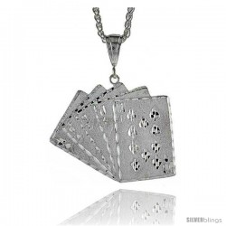 "Sterling Silver Royal Flush Card Pendant, 1 7/8"" (43 mm) tall"