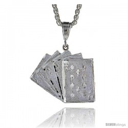 "Sterling Silver Royal Flush Card Pendant, 1 3/8"" (36 mm) tall"