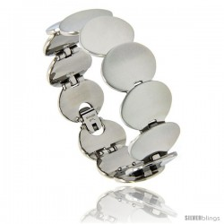 Stainless Steel Oval Egg Shape Link Bracelet, 3/4 in wide, 7 in