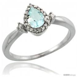 10k White Gold Diamond Aquamarine Ring 0.33 ct Tear Drop 6x4 Stone 3/8 in wide