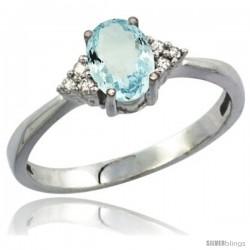 10K White Gold Natural Aquamarine Ring Oval 7x5 Stone Diamond Accent