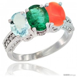 10K White Gold Natural Aquamarine, Emerald & Coral Ring 3-Stone Oval 7x5 mm Diamond Accent