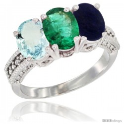 10K White Gold Natural Aquamarine, Emerald & Lapis Ring 3-Stone Oval 7x5 mm Diamond Accent