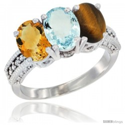 14K White Gold Natural Citrine, Aquamarine & Tiger Eye Ring 3-Stone 7x5 mm Oval Diamond Accent