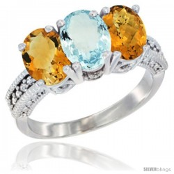 14K White Gold Natural Citrine, Aquamarine & Whisky Quartz Ring 3-Stone 7x5 mm Oval Diamond Accent