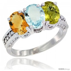 14K White Gold Natural Citrine, Aquamarine & Lemon Quartz Ring 3-Stone 7x5 mm Oval Diamond Accent