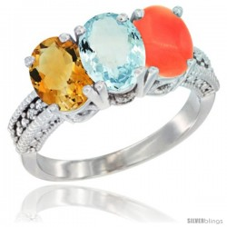 14K White Gold Natural Citrine, Aquamarine & Coral Ring 3-Stone 7x5 mm Oval Diamond Accent