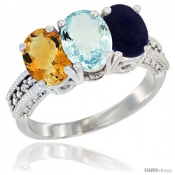 14K White Gold Natural Citrine, Aquamarine & Lapis Ring 3-Stone 7x5 mm Oval Diamond Accent